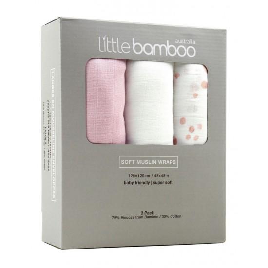 Little Bamboo Muslin Wraps 3 Pack - Dusty Pink