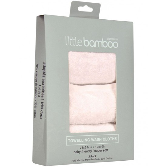 Little Bamboo Towelling Washer 3pk - Dusty Pink