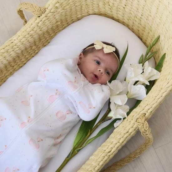 Living Textiles Zip Up Swaddle 0.2TOG 3-6 Months - Swan Princes