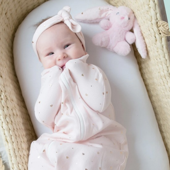 Living Textiles Zip Up Swaddle 0.2TOG 0-3 Months - Pink Hearts