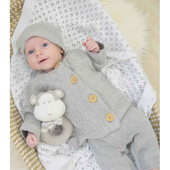 Living Textiles Button Knitted Cardigan Set 3pk