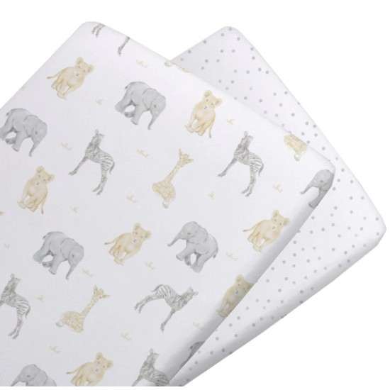Living Textiles Jersey BASSINET Fitted Sheets 2pk - Savanna Babies