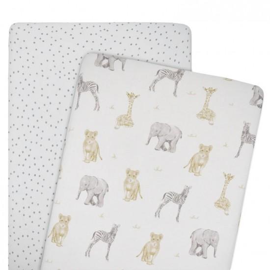 Living Textiles Jersey CRADLE/CO-SLEEPER Fitted Sheet 2pk - Savanna Babies/Dots