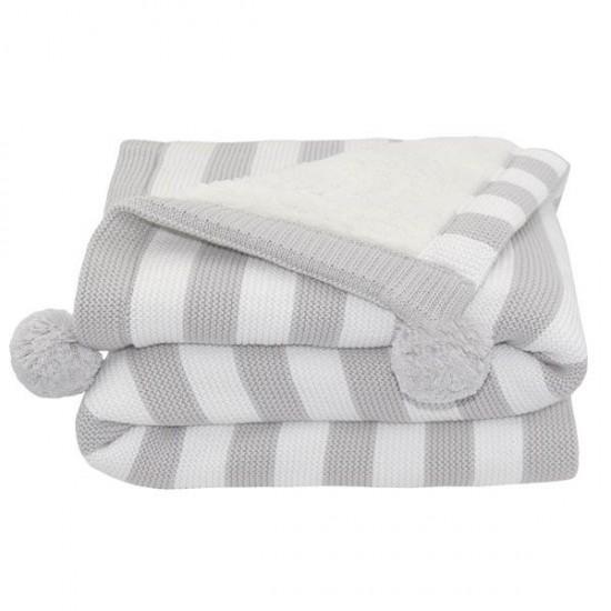 Living Textiles PomPom Sherpa Blanket - Grey Stripe