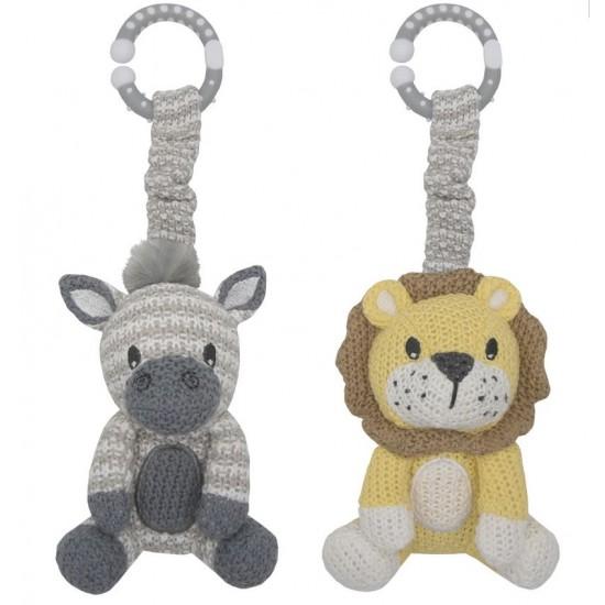 Living Textiles Stroller Toys 2pk - Zebra & Lion