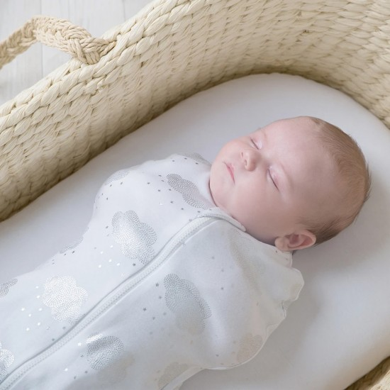 Living Textiles Zip Up Swaddle 0.2TOG 3-6 Months - Clouds