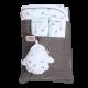 Minene Reversible Pram Liner & Safety Strap Set - Baby Blue Arrows