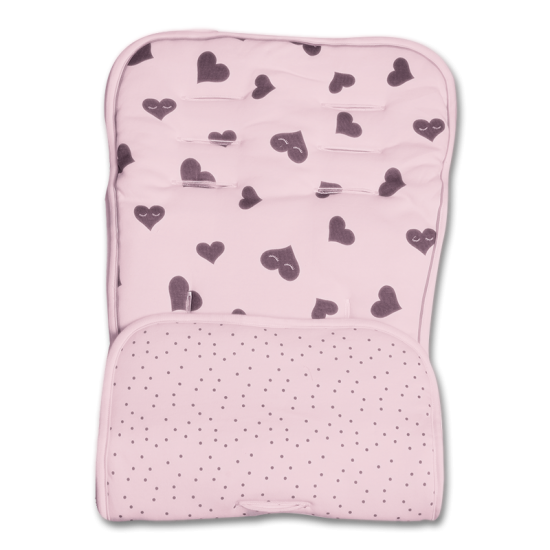 Minene Reversible Pram liner & Safety Strap Set - Pink Hearts