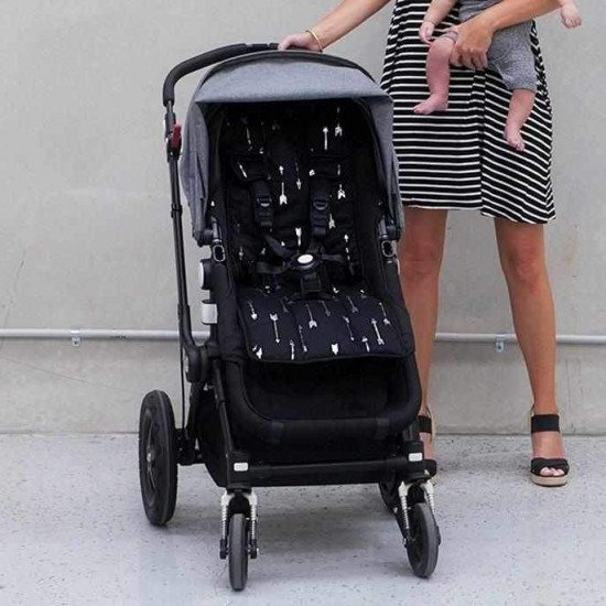 Outlook Pram Liner Cotton- Get Foiled- Black with Silver Arrows