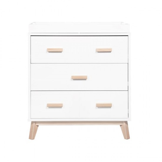 Babyletto Scoot 3 Drawer Changer Dresser - White/Washed Natural