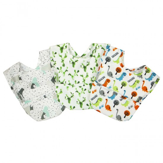 Silly Billyz Wipe Clean Nylon Pocket Bib 3pk Boy