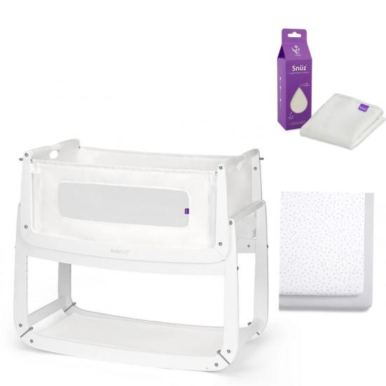 SnuzPod4 Co Bedside Bassinet + Mattress Protector + Bedding Set PACKAGE