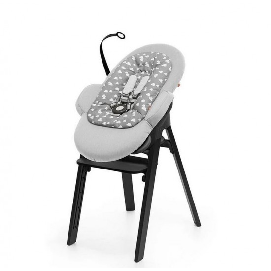 Stokke Steps Bouncer - Grey Clouds Black Chassis