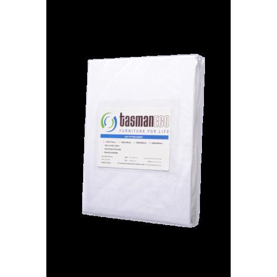 Tasman Eco Cot Fitted sheet 108 x 53cm - White