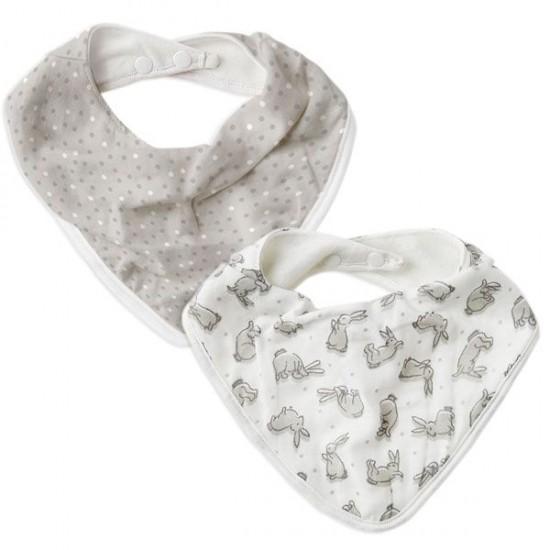 The Little Linen Company Muslin Bandana Bib 2pk - Bunnies