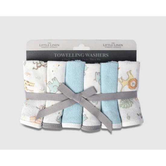 The Little Linen Company Towelling Washer 6pk