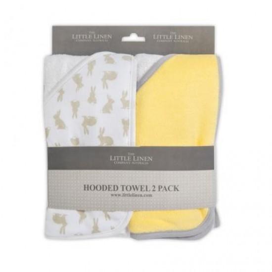 TLLC Hooded Towel 2pk - Yellow Bunnies