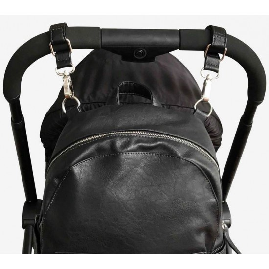 VANCHI Leatherette Pram Clips - Black