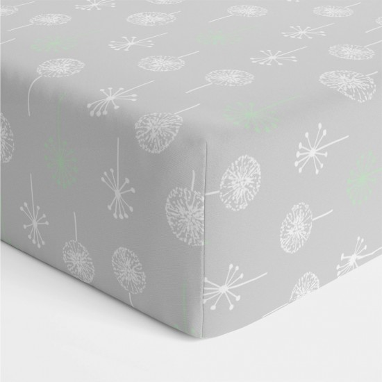 Bubba Blue Bamboo Mint Meadow Jersey Cot Fitted Sheet