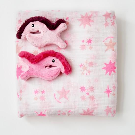 The Little Linen Company Mullet Pram Clips + Muslin - pink